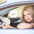 Stock Photo: Young pretty lady with modern luxury car