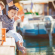 Woman with son on pier — Stock Photo