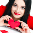 Portrait of Love and valentines day woman holding heart smiling — Stock Photo #39380547