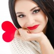 Portrait of Love and valentines day woman holding heart smiling — Stock Photo #39380695