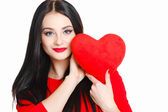 Portrait of Love and valentines day woman holding heart smiling — Stock Photo