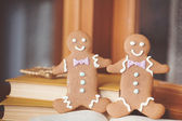 Fun holiday image of smiling gingerbread man with red and white defocused background (christmas dishes with candy) Macro with extremely shallow dof. — Stock Photo