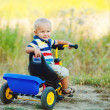 Little smiling boy on toy bicycle — Stock Photo #39671583