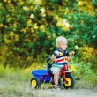 Little smiling boy on toy bicycle — Stock Photo #39671587