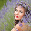 Portrait of young woman in lavender wreath. Fashion, Beauty — Stock fotografie