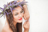 Portrait of young woman in lavender wreath. Fashion, Beauty. — Stock Photo