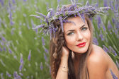 Portrait of young woman in lavender wreath. Fashion, Beauty — Stock Photo