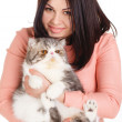Beautiful smiling brunette girl and her big cat on a white background — Stock Photo #40586411