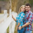 Portrait of happy young couple wearing shirts having fun outdoors near fence in park — Stock Photo #41086869