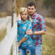 Portrait of happy young couple wearing shirts having fun outdoors near fence in park — Stock Photo #41086881
