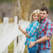 Portrait of happy young couple wearing shirts having fun outdoors near fence in park — Stock Photo #41088577