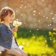 Portrait of a cute little girl on a sunny summer day — Stock Photo