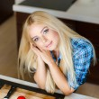 A young woman prepares fresh vegetable salad — Stock Photo #47780461