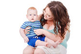 Portrait of happy fun family. Mother and baby — Stock Photo