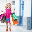 Little girl fashion with packages at the Mall — Stock Photo #49125167