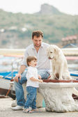 Father and son sits with dogs on a bench near the sea — Stock Photo