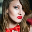 Close up portrait of sexy girl with red lips — Stock Photo