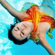 Chilling girl in the swimming pool — Stock Photo