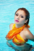 Swimming pool and hot girl — Stock Photo