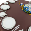 Table with empty plates — Stock Photo