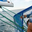 People on sailing boat on the sea — Foto Stock