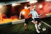 Soccer player kicked to the face other player — Stock Photo