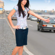 Young woman are stopping car — Stock Photo #1124928
