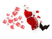 Santa claus on invisible car — Stock Photo