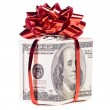 Gift box made of dollars — Stock Photo