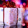 Gift box made of euro — Stock Photo