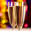Champagne at christmas party - Stock Photo