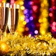 Royalty-Free Stock Photo: Champagne with christmas toys