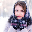 Woman in winter park — Foto Stock