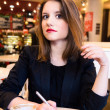 Woman is flirting in modern cafe — Foto de Stock