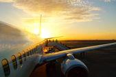 Sunset aicraft — Stock Photo