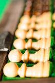 Conjunto de piezas de ajedrez de madera — Foto de Stock