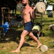 Training with barbell outdoors — Stock Photo