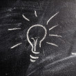 Bulb on chalk board — Stock Photo