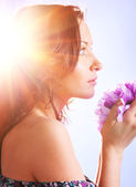 Woman with big flower — Stock Photo