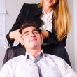 Making head massage - Stock Photo