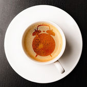 Alarm on cup of fresh espresso — Stock Photo
