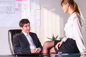 Seducing a boss — 图库照片