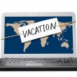 Laptop with vacation note — Zdjęcie stockowe