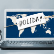 Stock Photo: Laptop with holiday note