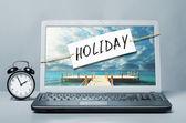 Laptop ile tatil not — Stok fotoğraf