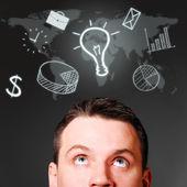 Erkek kafa ile iş ikonları/simgeleri — Stok fotoğraf