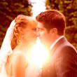 Wedding sunset kiss — Stock Photo