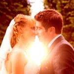 Wedding sunset kiss — Stock Photo #28219197