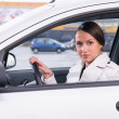 Business woman in a car — Stock Photo #28227629