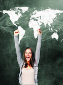 Excited student woman — Stock Photo